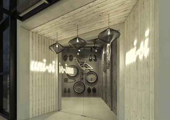 An industrial concept of a bike shop