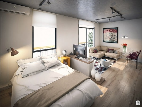 Efficient Studio Apartment Layout 600 450