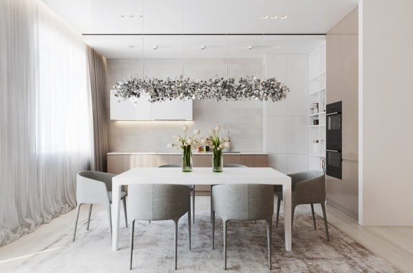 Embraces minimalism for Neutral dining room colors