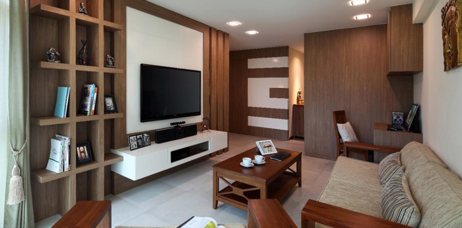 Let your TV unit walls Stand out with these creative ideas by Urban Design House Pte Ltd