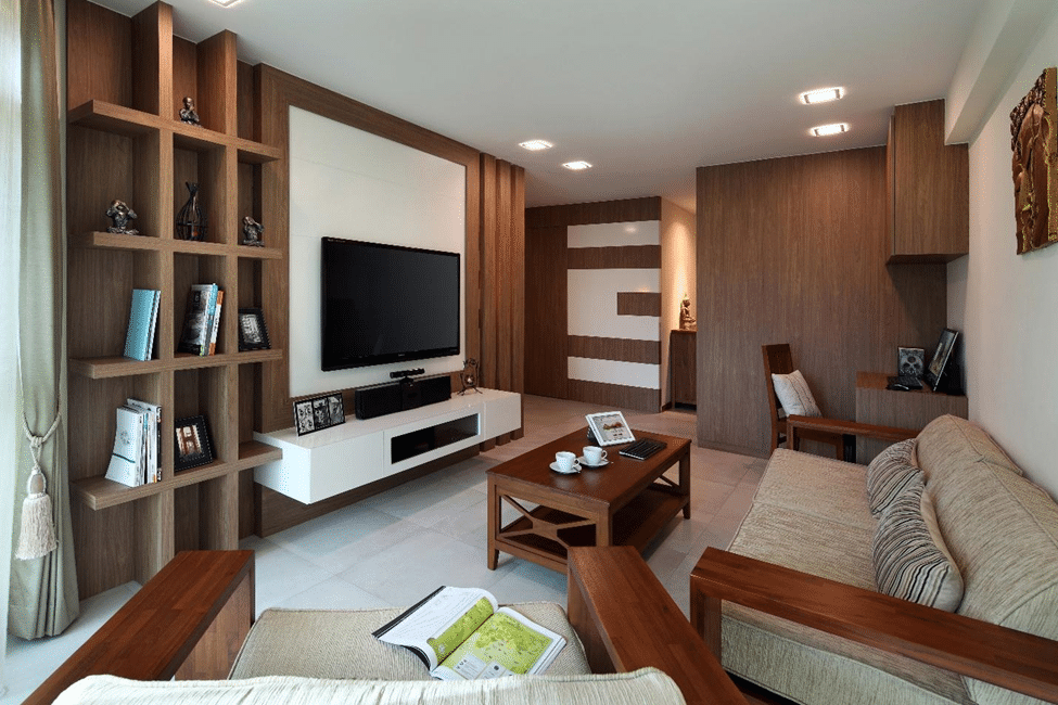 The Wooden Floating Shelves Within TV Wall Unit Gives A Visual Character To This Living Room Interior Design Singapore