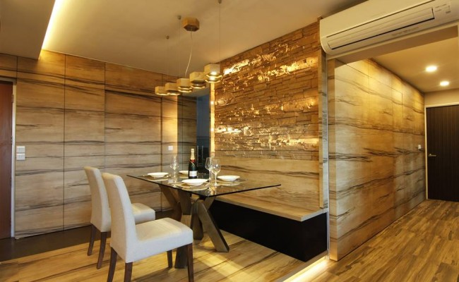 Tranquilizing modern resort interior design with wood grain laminate and bricks! (1)