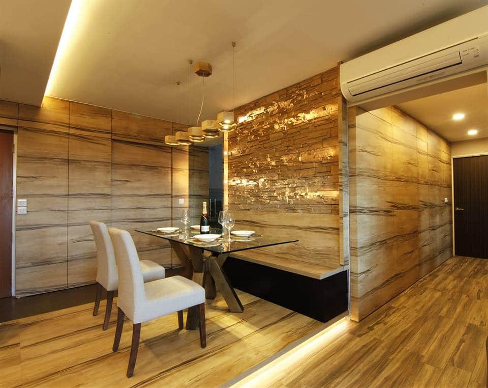 Tranquilizing modern resort interior design with wood grain laminate