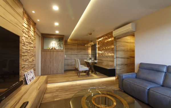 Tranquilizing modern resort interior design with wood grain laminate and bricks!