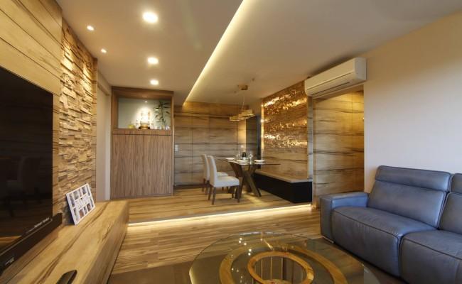 Tranquilizing modern resort interior design with wood grain laminate and bricks! (2)