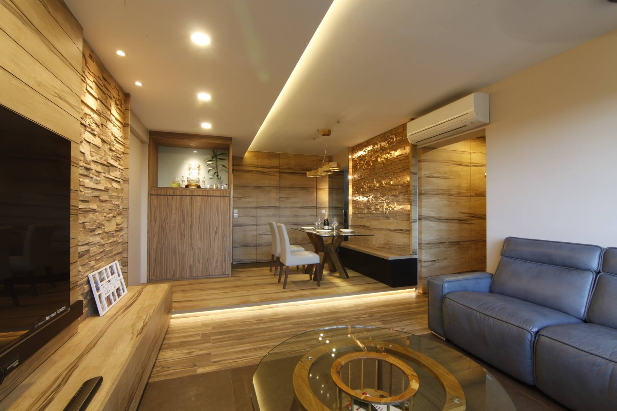 Tranquilizing modern resort interior design with wood grain laminate and bricks - Interior design modern ...