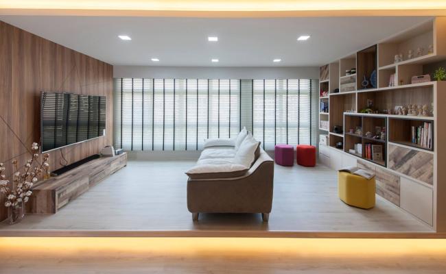 Modern Scandinavian home design with a cozy cove area