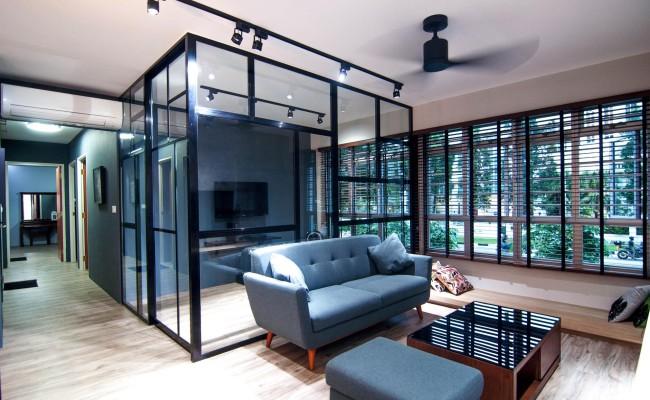 Scandinavian apartment combining glass with wooden flooring, concrete floor! (1)