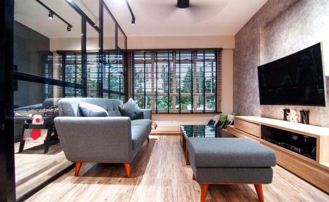 Scandinavian apartment combining glass with wooden flooring, concrete floor! (10)