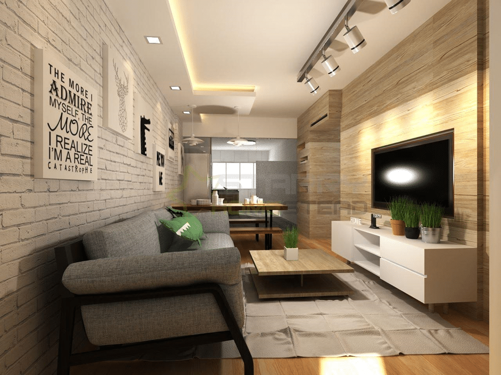 BRICK WALL ACCENT LIVING ROOM