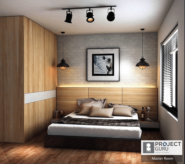 rustic bedroom with brilliant accent walls