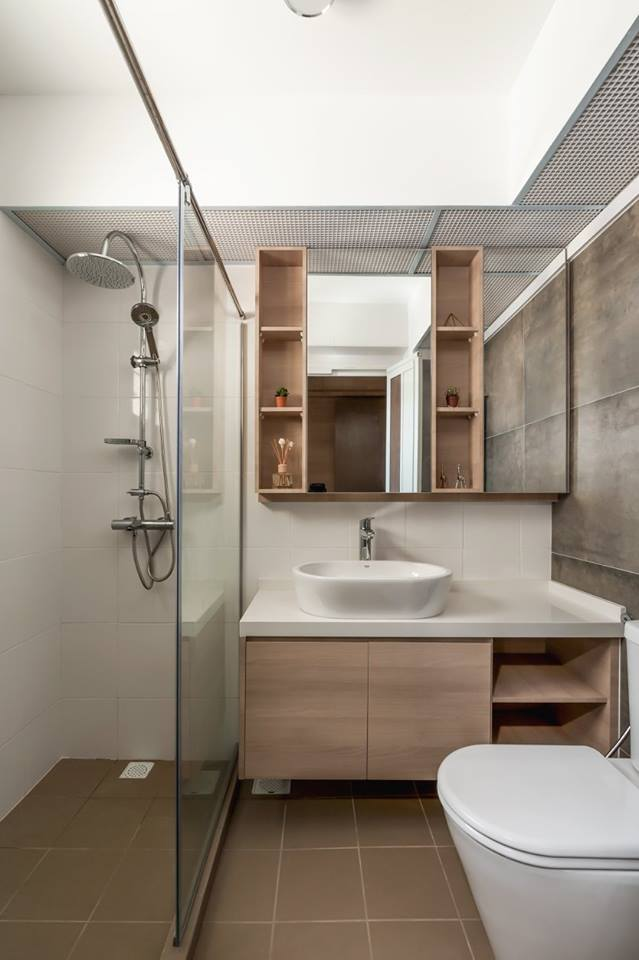 Modern interior design that fully embrace natural grain and beautiful wood finish Modern bathroom design singapore