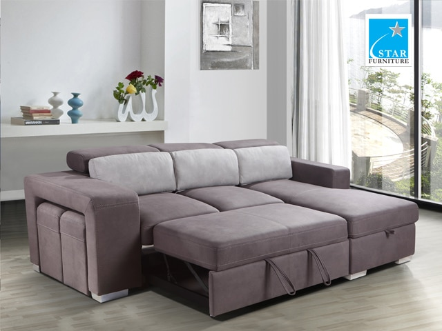 Star - Joey Functional L-Shaped Sofa Bed with 2 Stools