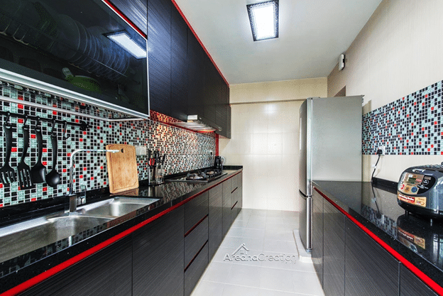 CHARM ECHOED IN A BLACK KITCHEN COUNTERTOPS (3)
