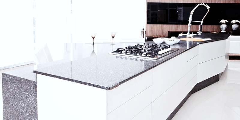Perfect kitchen countertops with matching color additions.