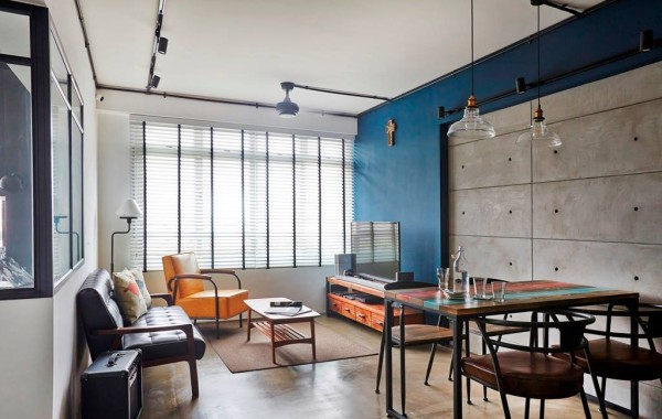 Industrial interior design with distressed looking surfaces