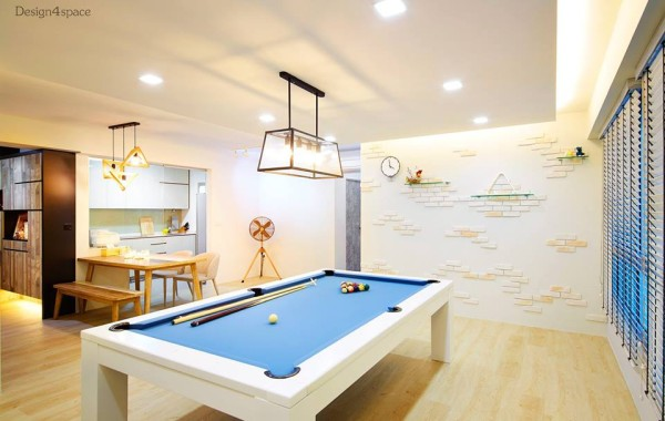 Modern Living Room with Pool table