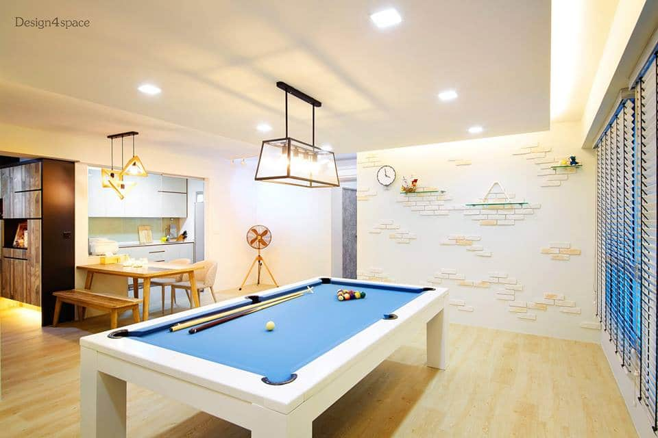 Modern Living Room With Pool Table 7