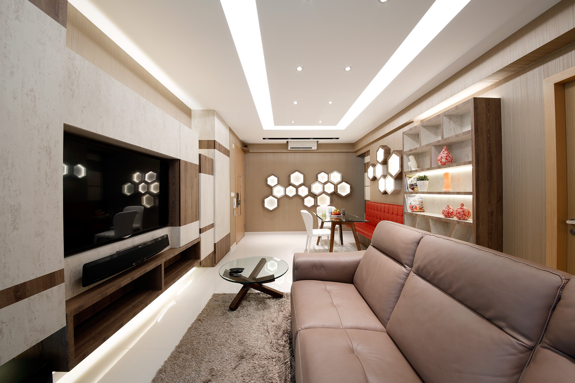 modern brown interior with wall hive design 2 home renovation singapore. Black Bedroom Furniture Sets. Home Design Ideas