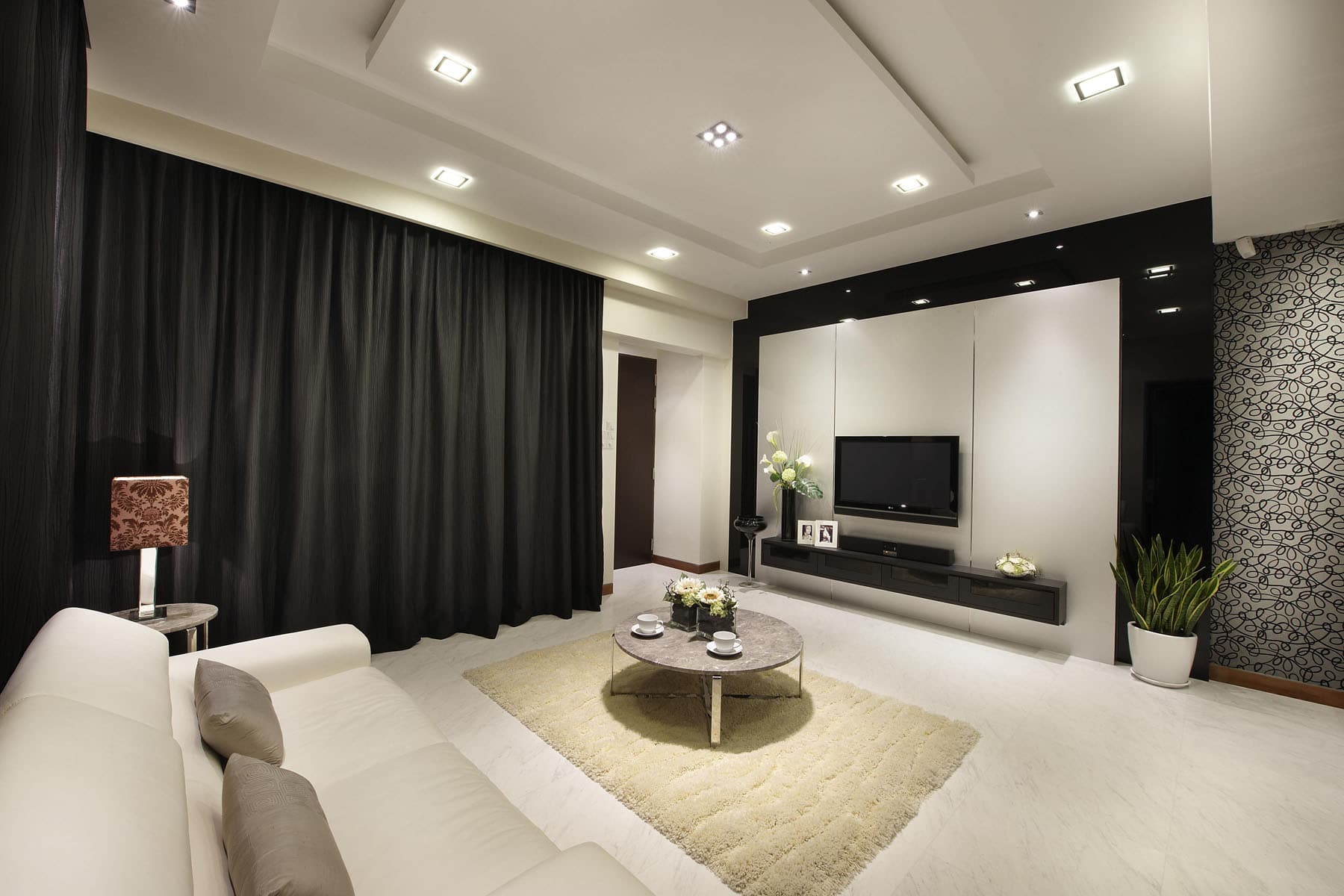 Black is always sexy home interior that is glamorously black for Interior designs singapore