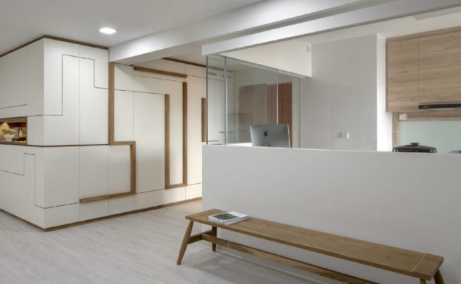 Clean lines and wood accents2