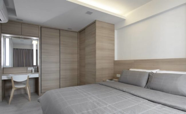 Clean lines and wood accents5