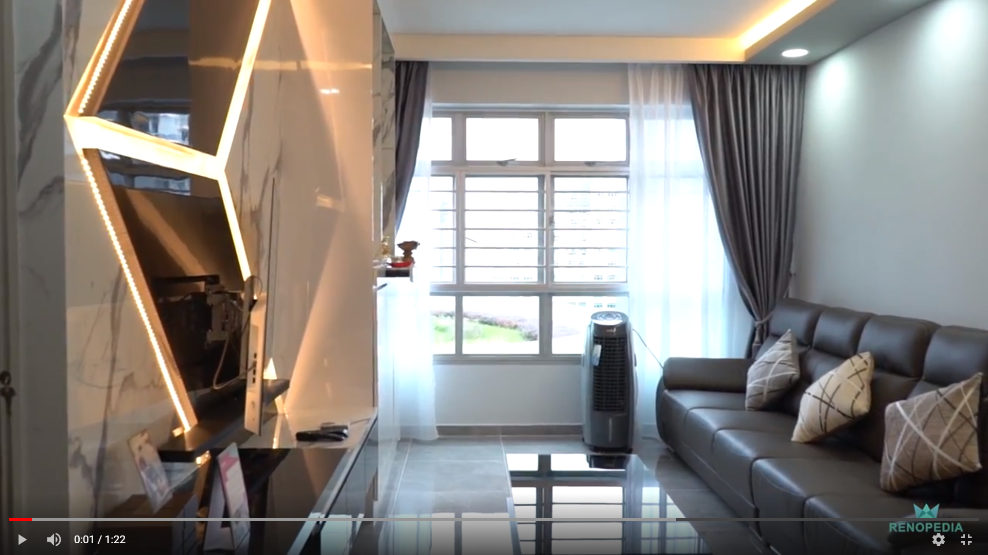 Interior Design Singapore | Modern Sleek Marble Feature Wall (Jialux Interior)