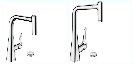 The hansgrohe Metris Select 2-hole single lever kitchen faucet comes in 2 different heights – 220 and 320.