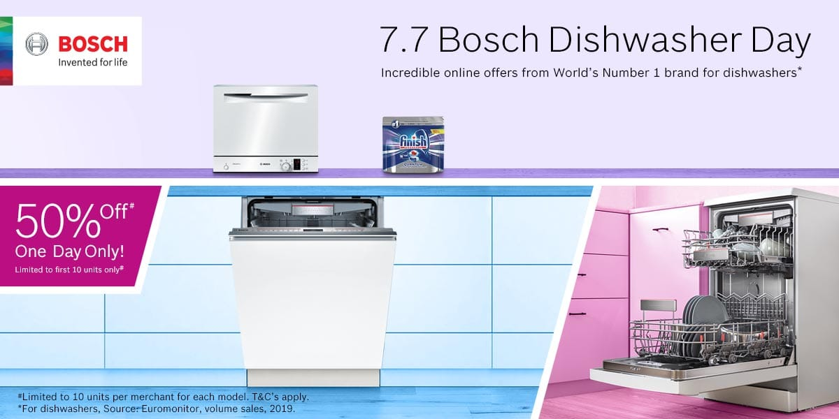 7.7 Bosch Dishwasher Day – one day only sale is here!